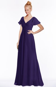 ColsBM Ellen Royal Purple Modern A-line V-neck Short Sleeve Zip up Floor Length Bridesmaid Dresses