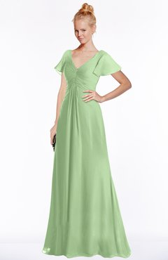 ColsBM Ellen Sage Green Modern A-line V-neck Short Sleeve Zip up Floor Length Bridesmaid Dresses