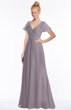 ColsBM Ellen Sea Fog Modern A-line V-neck Short Sleeve Zip up Floor Length Bridesmaid Dresses