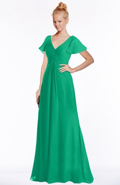 ColsBM Ellen Sea Green Modern A-line V-neck Short Sleeve Zip up Floor Length Bridesmaid Dresses