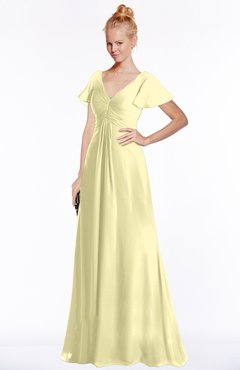 ColsBM Ellen Soft Yellow Modern A-line V-neck Short Sleeve Zip up Floor Length Bridesmaid Dresses