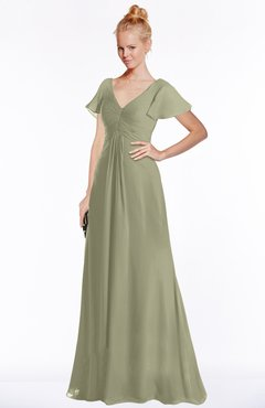ColsBM Ellen Sponge Modern A-line V-neck Short Sleeve Zip up Floor Length Bridesmaid Dresses