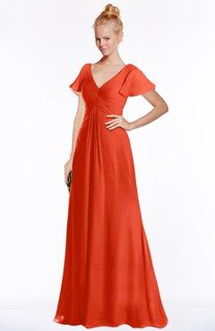 ColsBM Ellen Tangerine Tango Modern A-line V-neck Short Sleeve Zip up Floor Length Bridesmaid Dresses