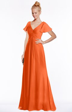 ColsBM Ellen Tangerine Modern A-line V-neck Short Sleeve Zip up Floor Length Bridesmaid Dresses