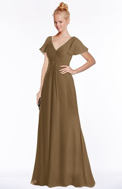 ColsBM Ellen Truffle Modern A-line V-neck Short Sleeve Zip up Floor Length Bridesmaid Dresses