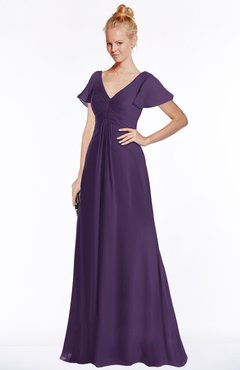 ColsBM Ellen Violet Modern A-line V-neck Short Sleeve Zip up Floor Length Bridesmaid Dresses