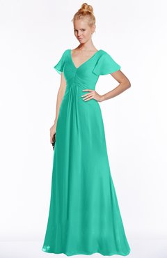ColsBM Ellen Viridian Green Modern A-line V-neck Short Sleeve Zip up Floor Length Bridesmaid Dresses