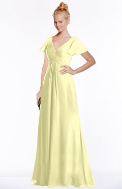 ColsBM Ellen Wax Yellow Modern A-line V-neck Short Sleeve Zip up Floor Length Bridesmaid Dresses