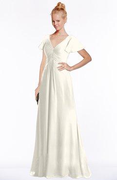 ColsBM Ellen Whisper White Modern A-line V-neck Short Sleeve Zip up Floor Length Bridesmaid Dresses