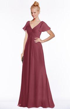 ColsBM Ellen Wine Modern A-line V-neck Short Sleeve Zip up Floor Length Bridesmaid Dresses