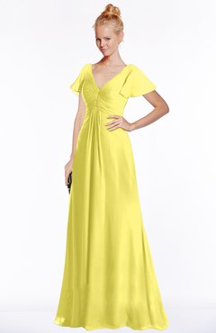 ColsBM Ellen Yellow Iris Modern A-line V-neck Short Sleeve Zip up Floor Length Bridesmaid Dresses