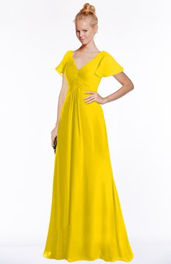 ColsBM Ellen Yellow Modern A-line V-neck Short Sleeve Zip up Floor Length Bridesmaid Dresses