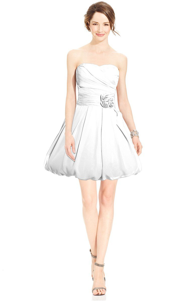 White glamorous fit n flare sweetheart sleeveless chiffon for Knee length fitted wedding dresses