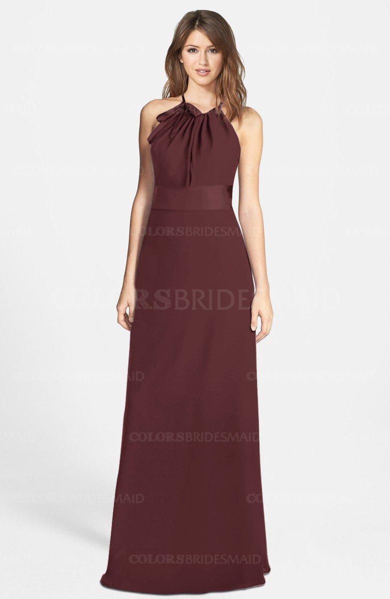 f8e6c50b2c8 ColsBM Leah Burgundy Luxury A-line Sleeveless Zip up Chiffon Floor Length Bridesmaid  Dresses