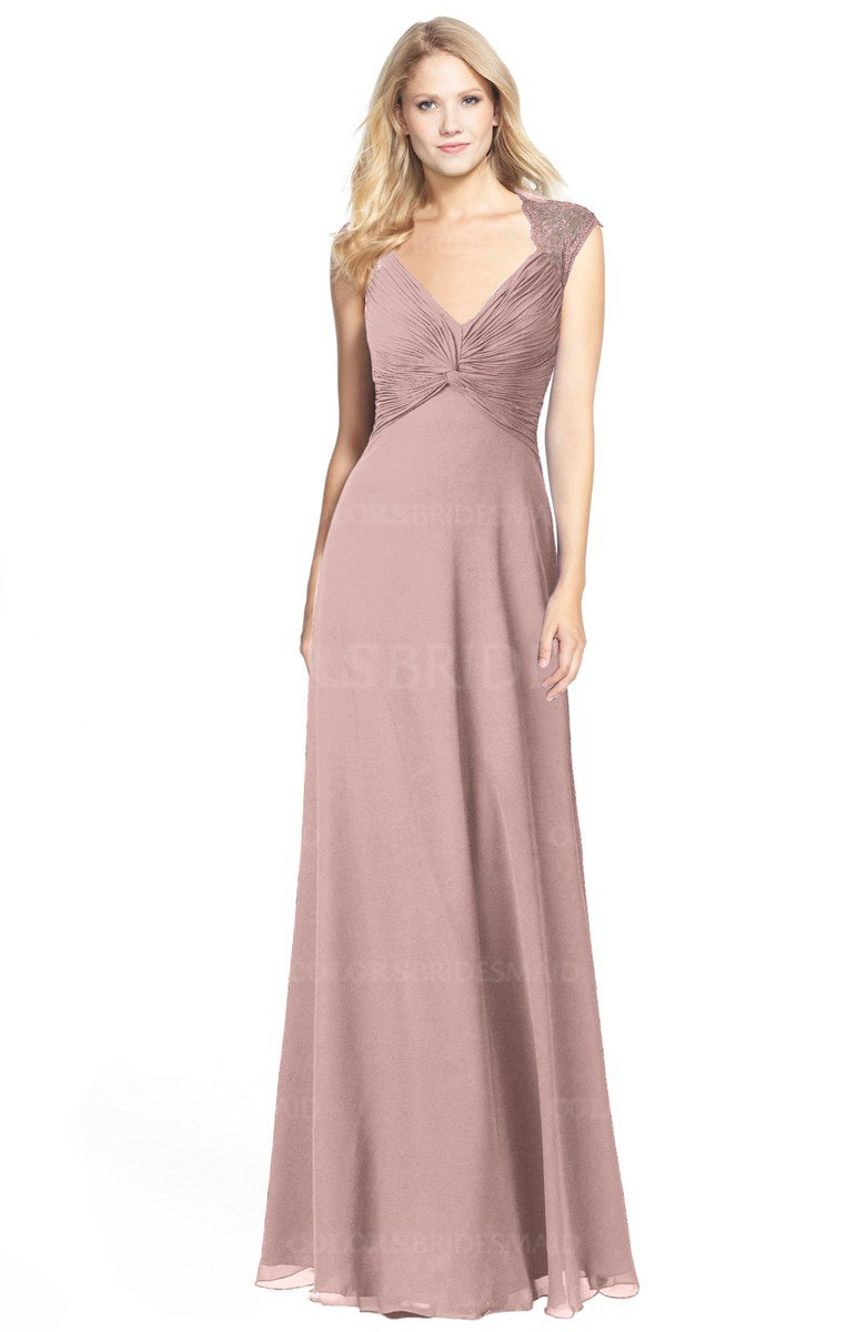 59bde8408a80 ColsBM Kara. Bridal Rose Modest Fit-n-Flare V-neck Sleeveless Chiffon Floor  Length Bridesmaid Dresses