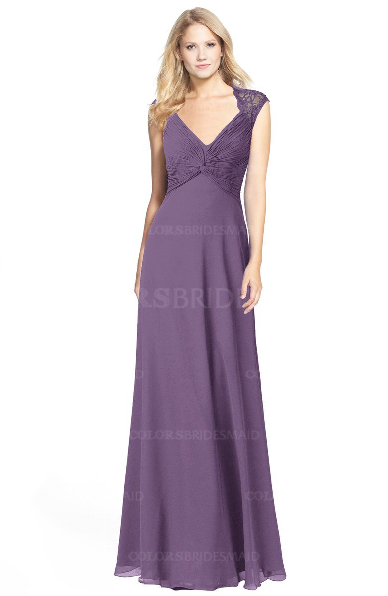 d04ac4108d51 ColsBM Kara Chinese Violet Modest Fit-n-Flare V-neck Sleeveless Chiffon  Floor