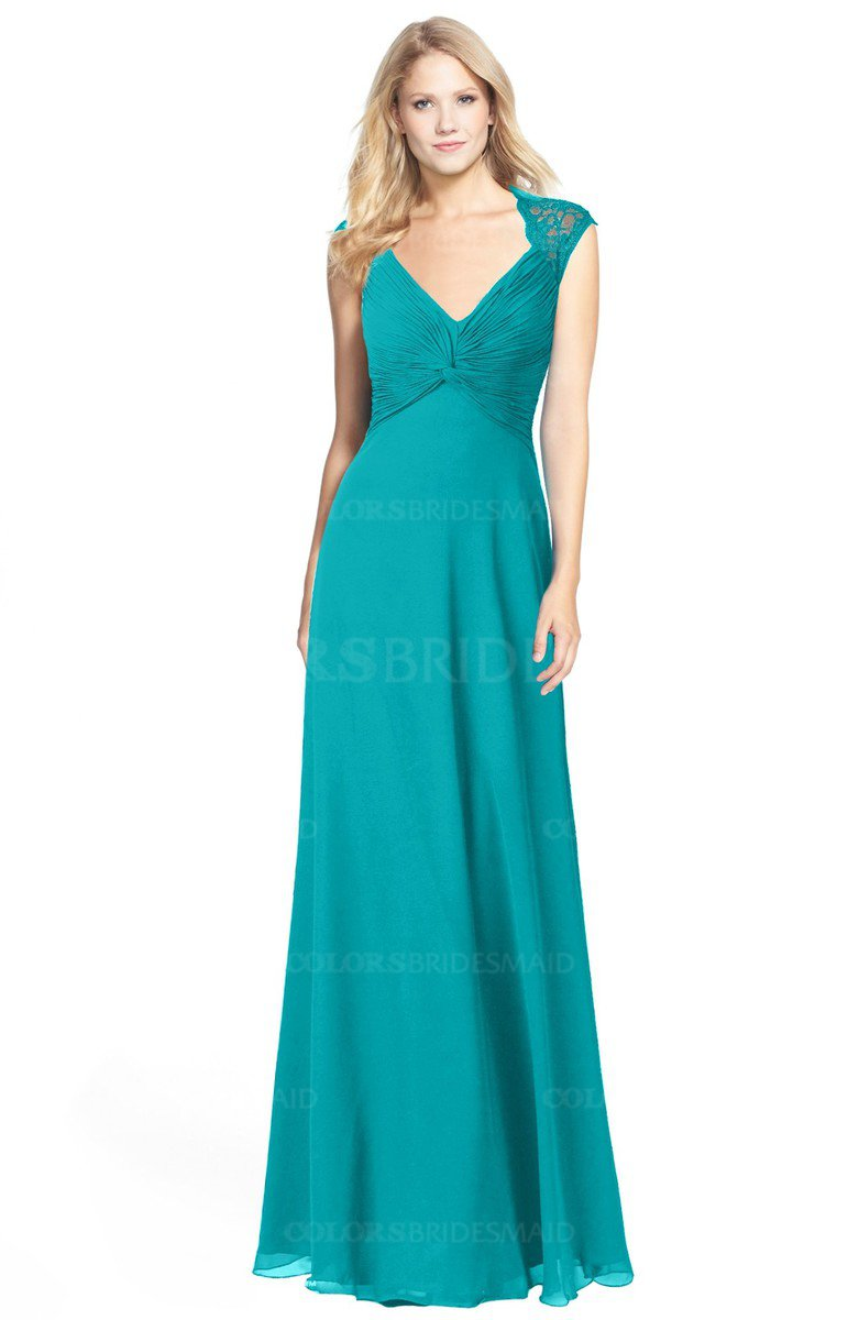 c9345db93cd4 ColsBM Kara. Teal Modest Fit-n-Flare V-neck Sleeveless Chiffon Floor Length  Bridesmaid Dresses