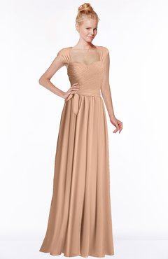 ColsBM Anna Almost Apricot Modest Sleeveless Half Backless Chiffon Floor Length Bridesmaid Dresses