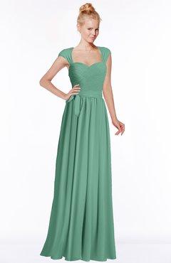 ColsBM Anna Beryl Green Modest Sleeveless Half Backless Chiffon Floor Length Bridesmaid Dresses