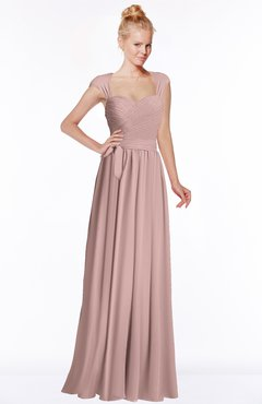 ColsBM Anna Blush Pink Modest Sleeveless Half Backless Chiffon Floor Length Bridesmaid Dresses