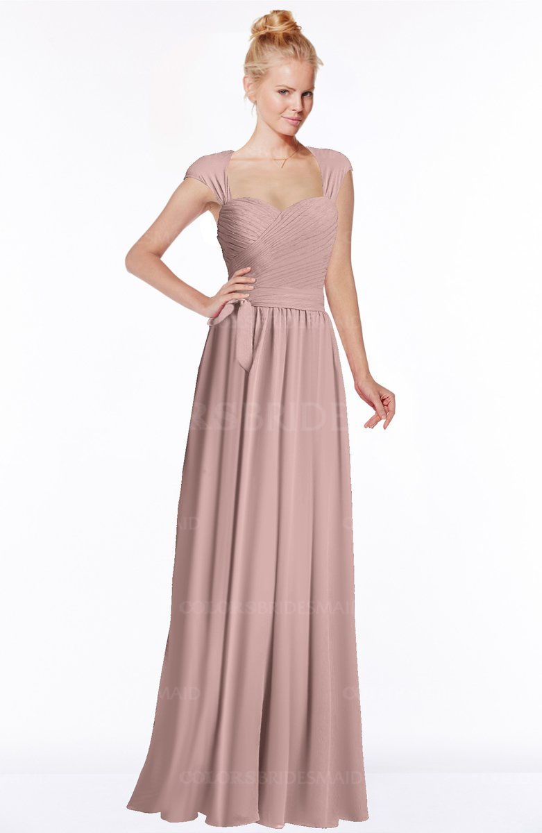 27893aaa7af9 ColsBM Anna Bridal Rose Modest Sleeveless Half Backless Chiffon Floor  Length Bridesmaid Dresses