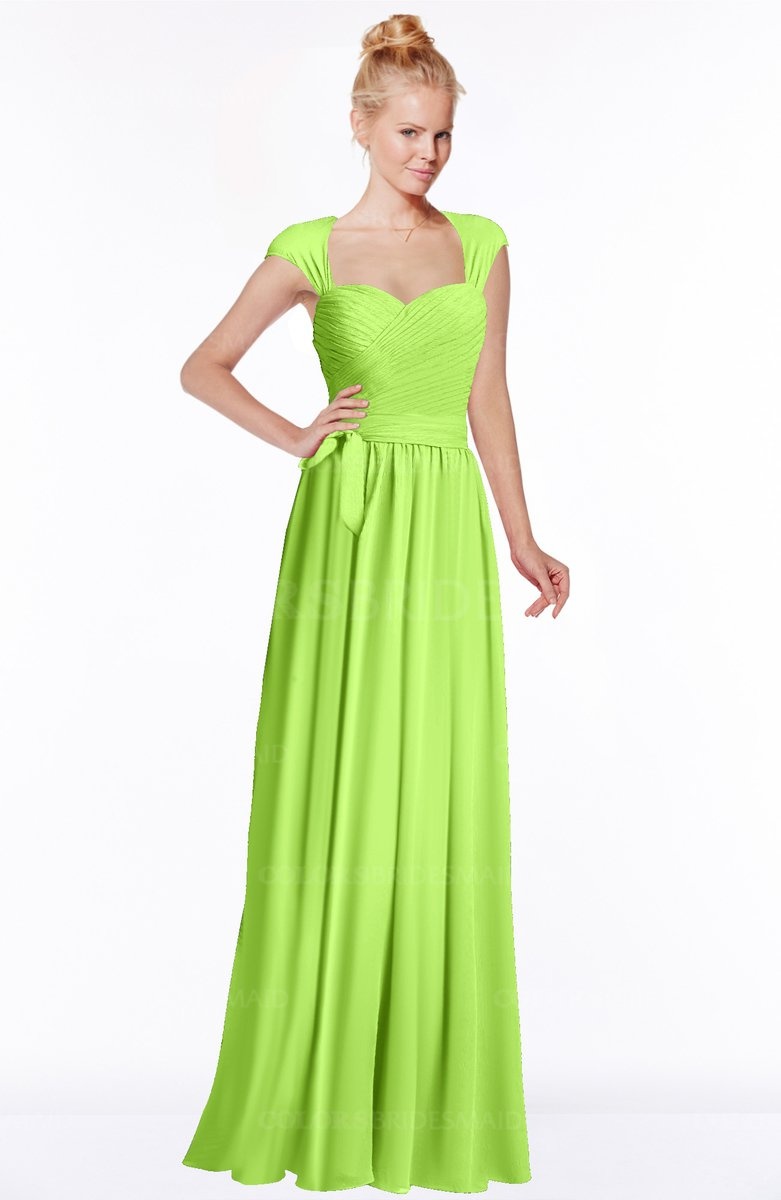 Bright green modest sleeveless half backless chiffon floor length modest sleeveless half backless chiffon floor length bridesmaid dresses ombrellifo Image collections