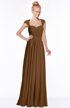 ColsBM Anna Brown Modest Sleeveless Half Backless Chiffon Floor Length Bridesmaid Dresses