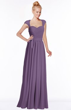 ColsBM Anna Chinese Violet Modest Sleeveless Half Backless Chiffon Floor Length Bridesmaid Dresses