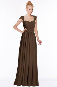 ColsBM Anna Chocolate Brown Modest Sleeveless Half Backless Chiffon Floor Length Bridesmaid Dresses