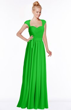 ColsBM Anna Classic Green Modest Sleeveless Half Backless Chiffon Floor Length Bridesmaid Dresses