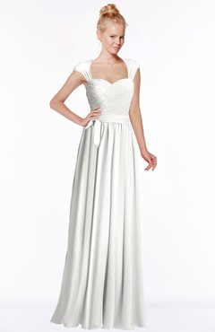 ColsBM Anna Cloud White Modest Sleeveless Half Backless Chiffon Floor Length Bridesmaid Dresses