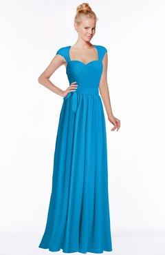 ColsBM Anna Cornflower Blue Modest Sleeveless Half Backless Chiffon Floor Length Bridesmaid Dresses