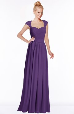 ColsBM Anna Dark Purple Modest Sleeveless Half Backless Chiffon Floor Length Bridesmaid Dresses