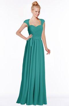 ColsBM Anna Emerald Green Modest Sleeveless Half Backless Chiffon Floor Length Bridesmaid Dresses