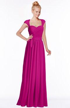 ColsBM Anna Hot Pink Modest Sleeveless Half Backless Chiffon Floor Length Bridesmaid Dresses