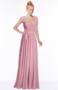 ColsBM Anna Light Coral Modest Sleeveless Half Backless Chiffon Floor Length Bridesmaid Dresses