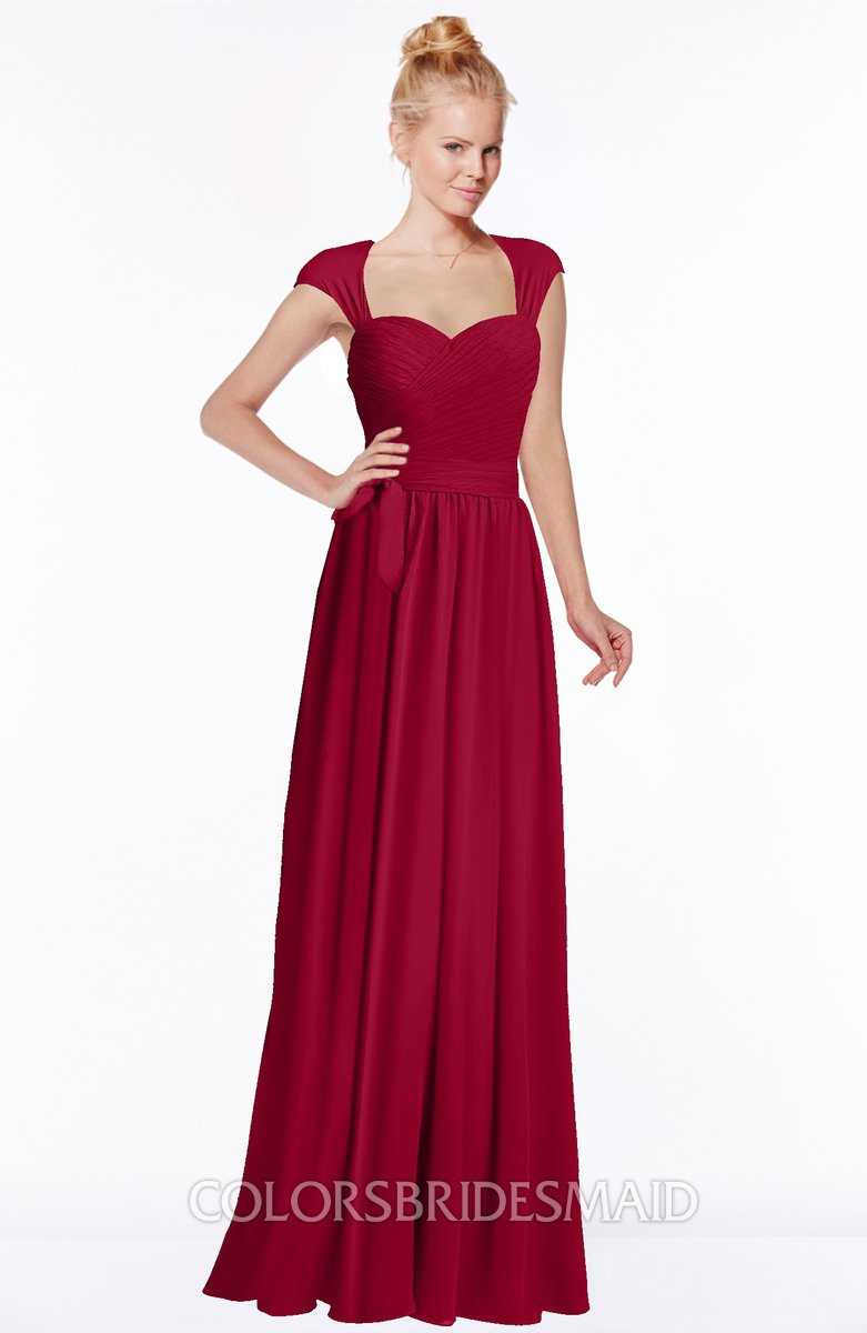 18a585bbd40c ColsBM Anna Maroon Modest Sleeveless Half Backless Chiffon Floor Length  Bridesmaid Dresses