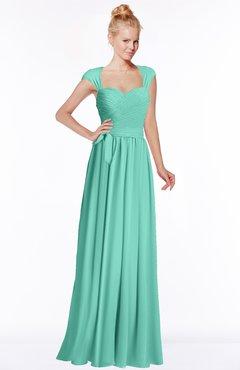 ColsBM Anna Mint Green Modest Sleeveless Half Backless Chiffon Floor Length Bridesmaid Dresses