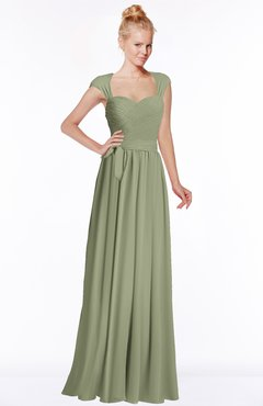 ColsBM Anna Moss Green Modest Sleeveless Half Backless Chiffon Floor Length Bridesmaid Dresses