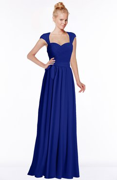 ColsBM Anna Nautical Blue Modest Sleeveless Half Backless Chiffon Floor Length Bridesmaid Dresses