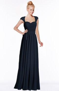 ColsBM Anna Navy Blue Modest Sleeveless Half Backless Chiffon Floor Length Bridesmaid Dresses