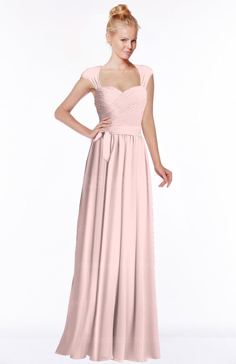 Pastel Pink Modest Sleeveless Half Backless Chiffon Floor ...