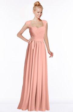 ColsBM Anna Peach Modest Sleeveless Half Backless Chiffon Floor Length Bridesmaid Dresses