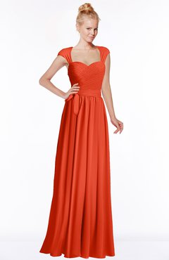 ColsBM Anna Persimmon Modest Sleeveless Half Backless Chiffon Floor Length Bridesmaid Dresses