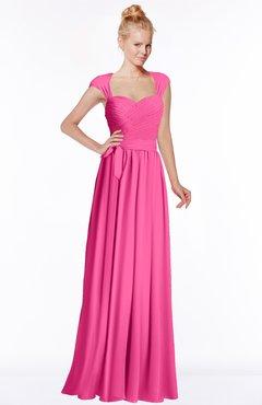 ColsBM Anna Rose Pink Modest Sleeveless Half Backless Chiffon Floor Length Bridesmaid Dresses