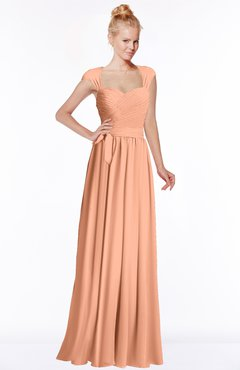 ColsBM Anna Salmon Modest Sleeveless Half Backless Chiffon Floor Length Bridesmaid Dresses