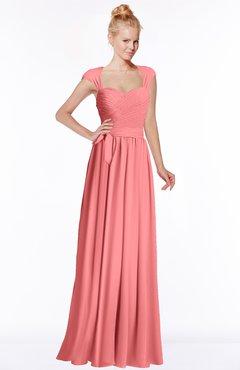 ColsBM Anna Shell Pink Modest Sleeveless Half Backless Chiffon Floor Length Bridesmaid Dresses