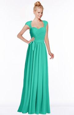 ColsBM Anna Viridian Green Modest Sleeveless Half Backless Chiffon Floor Length Bridesmaid Dresses