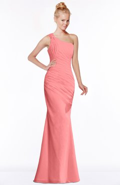 ColsBM Michelle Coral Simple A-line Sleeveless Chiffon Floor Length Bridesmaid Dresses