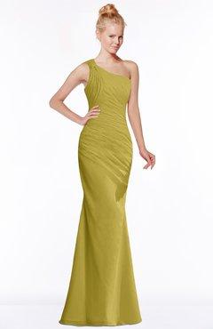 ColsBM Michelle Golden Olive Simple A-line Sleeveless Chiffon Floor Length Bridesmaid Dresses